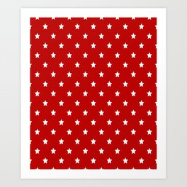 Red Background With White Stars Pattern Art Print