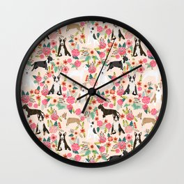 Bull Terrier dog breed pattern florals dog lover gifts pet friendly designs Wall Clock