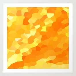 Polygonal Yellow and Orange Stained Glass Mosaic Art Print