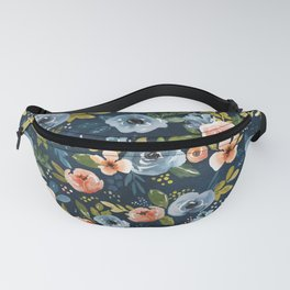 Nightfall Floral Print, Watercolor Flowers, Navy Blue, Salmon Pink, Mustard Yellow Fanny Pack