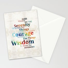 Colorful Serenity Prayer by Sharon Cummings Stationery Cards
