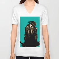 leonardo V-neck T-shirts featuring Leonardo by superdaimos