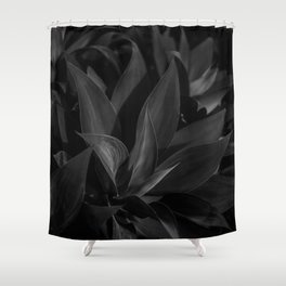 Tropical Jungle Leaves - Black and White Shower Curtain