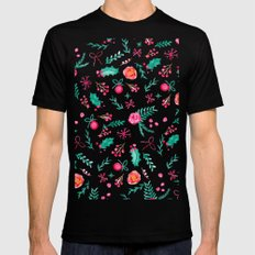 Modern hand painted christmas red green watercolor floral pattern Mens Fitted Tee Black MEDIUM