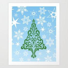 Retro Tree and Snowflakes Art Print