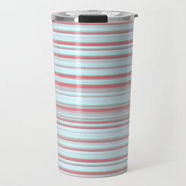 Sky Blue Red Candy Lines Travel Mug