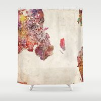 copenhagen Shower Curtains featuring Copenhagen by MapMapMaps.Watercolors