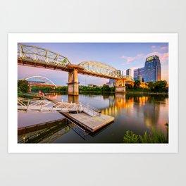 Nashville Pedestrian and Gateway Bridge at Dusk Art Print