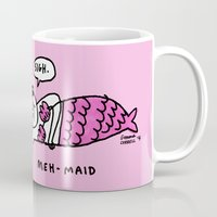 gemma Mugs featuring Meh-Maid by gemma correll
