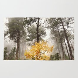 """""""Yellow tree in the foggy forest"""" Rug"""