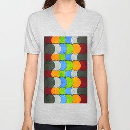 Overlapping Circles-Textured  Unisex V-Neck