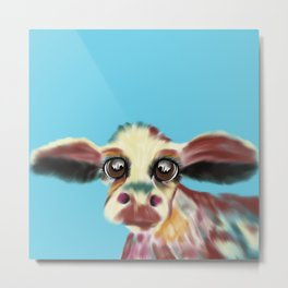 Colorful Cow With Big Eyes On Bluebackground Metal Print