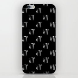 WTF Black and White Typography Pattern iPhone Skin