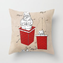 patent art Rubens Disappearing Santa in Chimney 1960 Throw Pillow