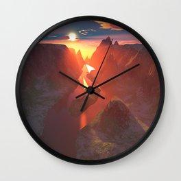 Sunset at the canyon Wall Clock