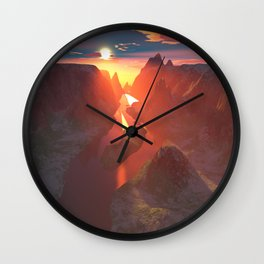 Sunset at the canyon Wall Clock