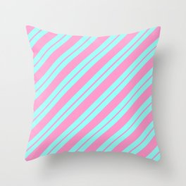 Blue and Pink Peppermint Throw Pillow