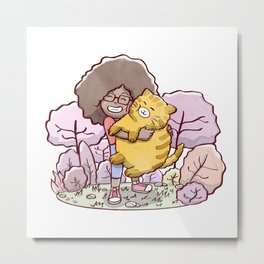 Girl hugging a fat cat with a park in background Metal Print