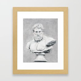 Hercules Bust Sculpture Framed Art Print