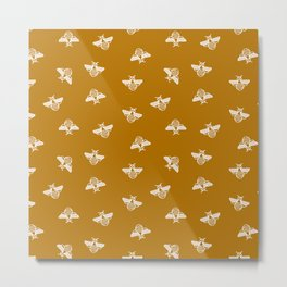 Bee pattern in gold yellow background Metal Print