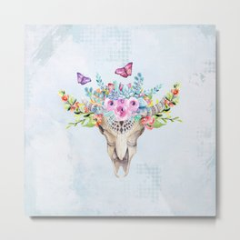 Boho Skull with Florals and Butterflies Metal Print