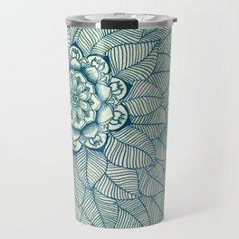 Emerald Green, Navy & Cream Floral & Leaf doodle Travel Mug