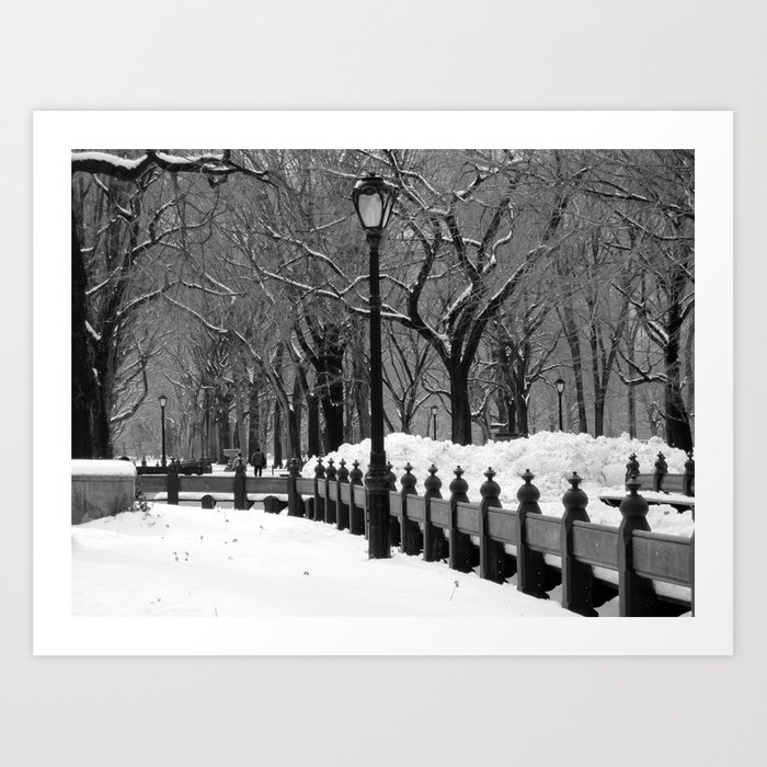 Central Park in Winter, Black & White Art Print