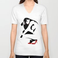 heels V-neck T-shirts featuring Red heels by rbengtsson