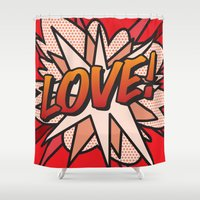 comic book Shower Curtains featuring Comic Book LOVE! by Thisisnotme