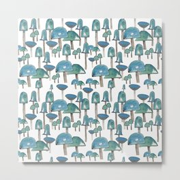 Turquoise mushrooms Metal Print