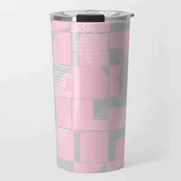 Blush and Gray Typographical Fragments Cheater Quilt Travel Mug