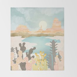 Retro Desert Oasis Throw Blanket