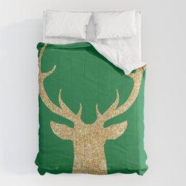 Deer Head Front Green Background Comforters