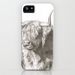 highland cow sketch iPhone Case
