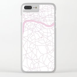 London White on Pink Street Map Clear iPhone Case