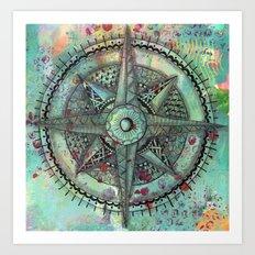 Compass Rose zentangle zendoodle doodle Art Print