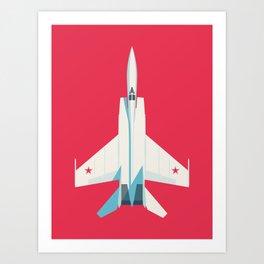MiG-25 Foxbat Interceptor Jet Aircraft - Crimson Art Print
