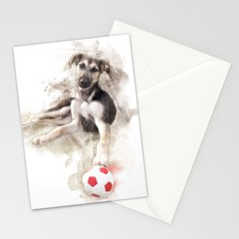 Puppy waiting for his master to play with watercolor Stationery Cards