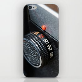 Control dial shutter speed on retro photo camera iPhone Skin