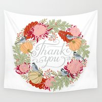 thanksgiving Wall Tapestries featuring Thanksgiving thank you card by Yuliya