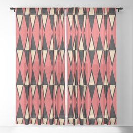 Mid Century Modern Diamond Pattern Red Black cream 231 Sheer Curtain