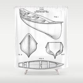 Canoe Patent - Kayak Art - Black And White Shower Curtain