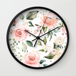 Sunny Floral Pastel Pink Watercolor Flower Pattern Wall Clock