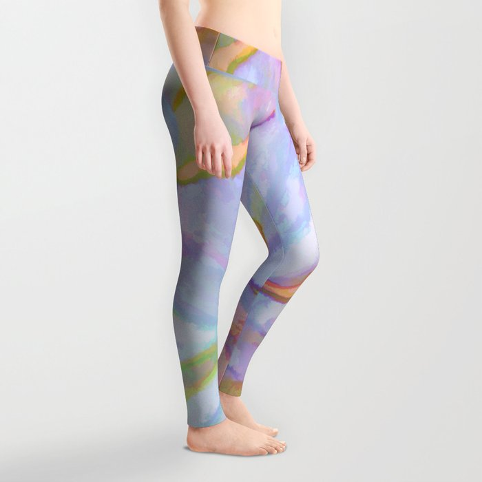 Soft Pastel Painted Petals Abstract Leggings