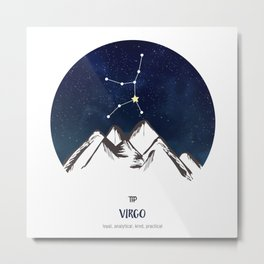 Astrology Virgo Zodiac Horoscope Constellation Star Sign Watercolor Poster Wall Art Metal Print