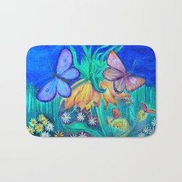 Flower with butterflies Bath Mat