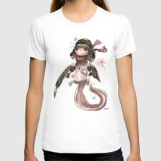 Axolotl Barbare White LARGE Womens Fitted Tee