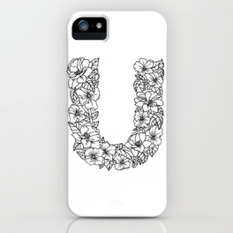 Floral Type - Letter U iPhone Case