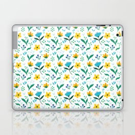 Summer flowers in yellow and blue in white background Laptop & iPad Skin