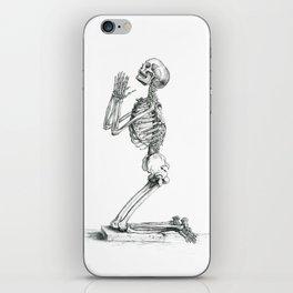 Vintage Praying Skeleton Graphite Anatomical Drawing iPhone Skin